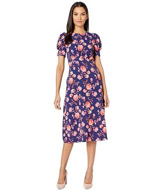 Vince Camuto Printed Pebble Crepe Puff Sleeve Curved Waist Midi Dress with Back Neck Tie (Navy Multi) Women's Clothing