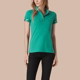 Burberry Check Trim Stretch Cotton Piqué Polo Shirt