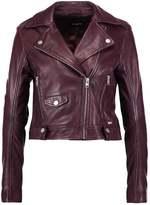 Tigha NEELA Leather jacket red plum
