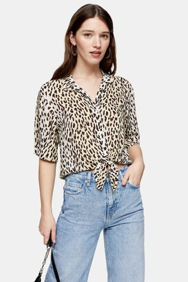 Topshop Womens Animal Print Knot Front Top - Green