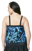 Merona Women's Plus-Size Paisley Blouson Swim Top - Blue/Black