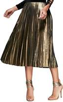 Dezzal Women's High Waist A-line Metallic Sparkle Pleated Midi Skirt (L)