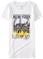 Aeropostale Womens Ny La City Scene Graphic T Shirt White