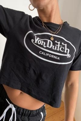Von Dutch Black Cropped T-Shirt - Black UK 12 at Urban Outfitters