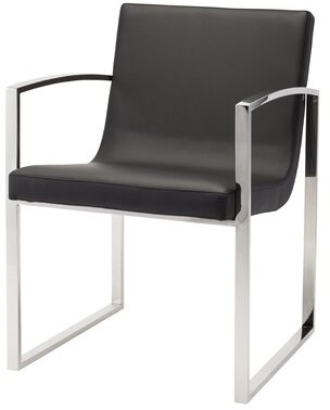 Clara Upholstered Wingback Arm Chair Nuevo Finish: Polished Stainless Steel, Upholstery Color: Black