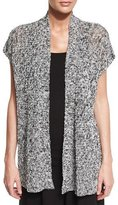 Eileen Fisher Short-Sleeve Melange Linen Grain Twist Cardigan, Black