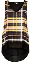 River Island Womens Yellow check V-neck tank top