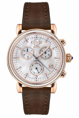 Gv2 GV2 by Gevril Women's Marsala Chrono Stainless Steel Swiss Quartz Watch with Leather Calfskin Strap Brown 18 (Model: 9840.S2)