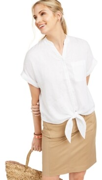 Charter Club Linen Tie-Front Button-Up Shirt, Created for Macy's