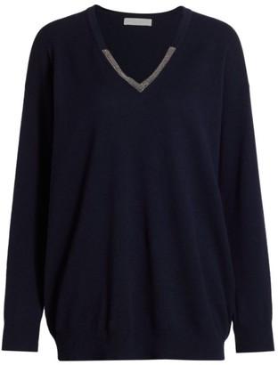 Fabiana Filippi Brilliant-Trim V-Neck Wool-Blend Knit Sweater