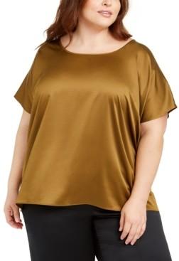 Eileen Fisher Plus Size Scoop-Neck Satin Top