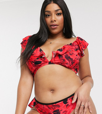 Simply Be plunge frill bikini top in red floral