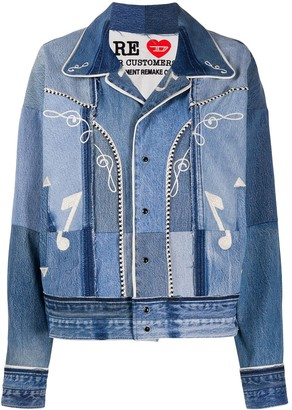 Diesel Red Tag Embroidered Patchwork Denim Jacket