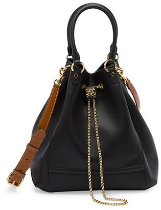 Fendi Karligraphy Chain Leather Bucket Bag
