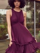 Halston Pleated Burnout Georgette Dress