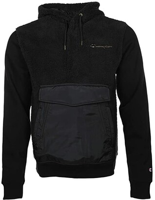 Champion Faux Fur Pullover Hood w/ Super Fleece Woven (Black) Men's Clothing