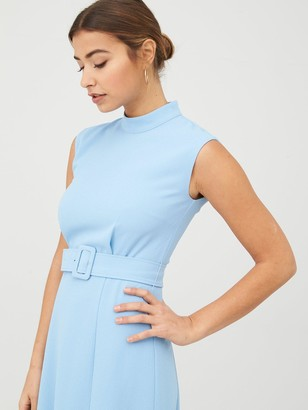 Whistles Penny Belted Dress - Pale Blue