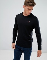 Hollister Falem Crew Neck Jumper Icon Logo Raglan In Black