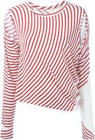 MM6 MAISON MARGIELA striped cut-out T-shirt - women - Spandex/Elastane/Viscose - S