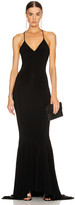 Norma Kamali Low Back Slip Mermaid Fishtail Gown in Black   FWRD