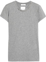 Valentino Studded Cotton-jersey T-shirt - Gray