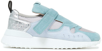 Tod's Metallic Leather, Perforated Suede And Mesh Sneakers