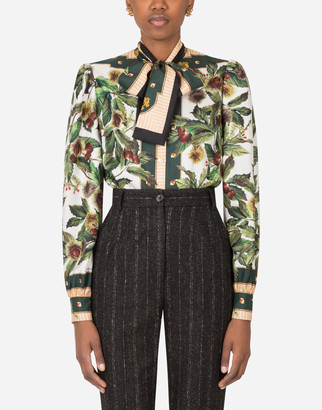 Dolce & Gabbana Chestnut Print Shirt In Twill With Bow