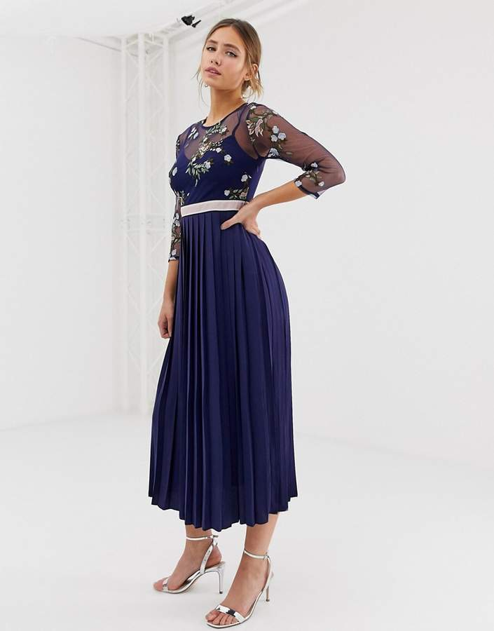 Little Mistress embroidered top midi dress in navy
