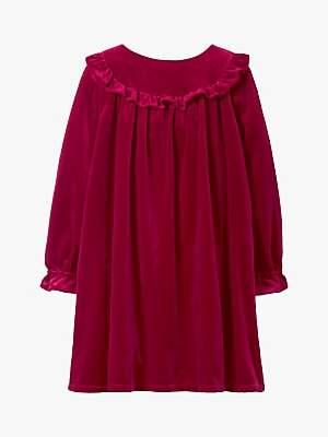Boden Mini Girls' Velvet Party Dress, Rose Apple Red
