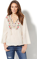 New York & Co. Braided-Trim & Embroidered Peasant Blouse
