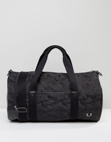 Fred Perry Camo Barrel Bag In Black