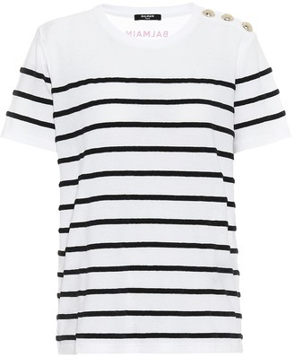 Balmain Striped cotton T-shirt