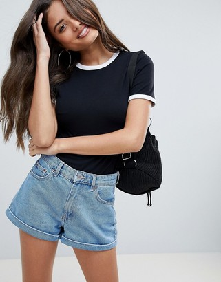 Asos Design DESIGN fitted t-shirt with contrast trim in black