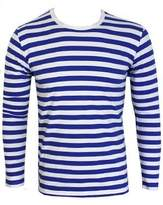 Grindstore Men's Striped Royal and White Long Sleeved T-shirt