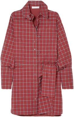 Chloé Knotted Checked Cotton-blend Poplin Dress