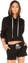 Monrow Oversized Cropped Hoodie in Black