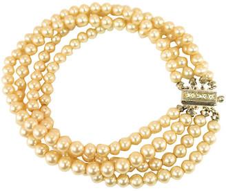 One Kings Lane Vintage 1930s Art Deco Pearl & Sterling Bracelet - Neil Zevnik - silver/cream/clear
