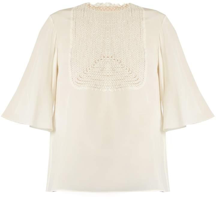 Valentino Lace-bib silk crepe de Chine top