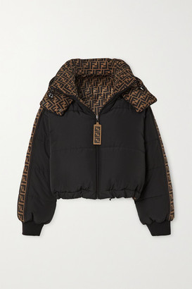 Fendi Reversible Printed Quilted Shell Down Bomber Jacket - Black