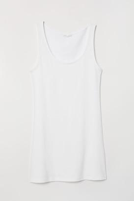 H&M Long Jersey Tank Top - White