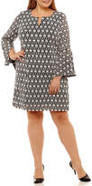 Robbie Bee Long Sleeve Circles Sheath Dress-Plus