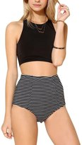 Azyuan Womens High Waist 2 Piece Stripe Bikini Spa Swimsuit Bathing Suit Black
