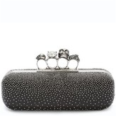 Alexander McQueen Studded Lambskin Leather Knuckle Clutch - Black