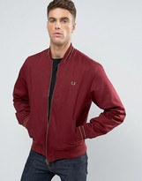 Fred Perry Bomber Jacket Tramline Tipped In Red