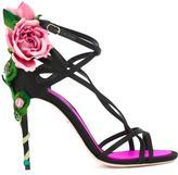 Dolce & Gabbana Keira sandals - women - Leather/Satin/metal/glass - 37