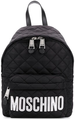 Moschino Logo-Print Quilted Backpack