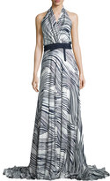 Carolina Herrera Gwen Striped Silk Halter Dress, Open Blue