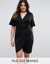 Club L Plus Wrap Dress With Tie Waist