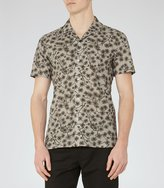 Reiss Reiss Hiro - Printed Cotton Shirt In Brown, Mens