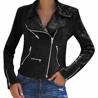 Goosun Womens Faux Suede Jackets Moto Biker Jacket with Pockets Stylish Notched Collar Oblique Zip Suede Leather Moto Jacket Long Sleeve Slim Fit Short Casual Outwear Black